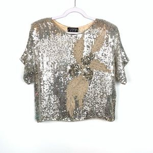 Vintage 80s Silver Sequin Beaded Cropped Top Large